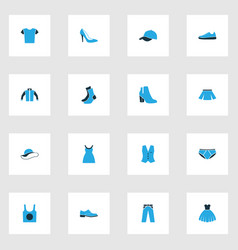Garment colorful icons set collection of vest vector