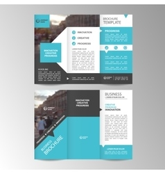 Geometric trifold business brochure template vector