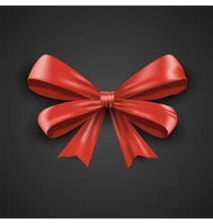 Gift realistic red bow and ribbons tilted on a vector image vector image