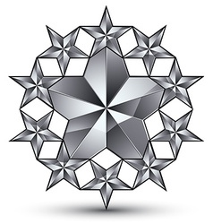 Glamorous rounded template with pentagonal silvery vector