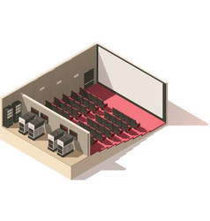 Isometric low poly movie theater cutaway vector