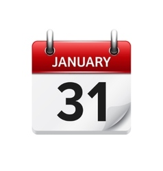 January 31 flat daily calendar icon date vector