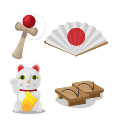 japan culture object isolate set vector image