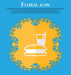 Lunch box floral flat design on a blue abstract vector