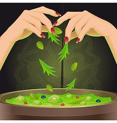 Magic potion in cauldron vector