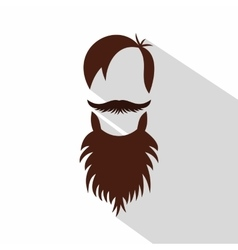 Men hairstyle with beard and mustache icon vector image vector image