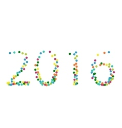 New year 2016 lettering colourful confetti vector image vector image