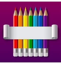 Rainbow color pencils and curled paper sheet with vector image vector image