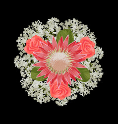 Romantic bride bouquet vector