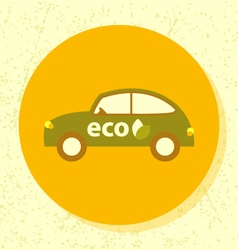 Round icon eco car symbol of ecological vector