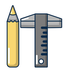 ruler pencil icon cartoon style vector image
