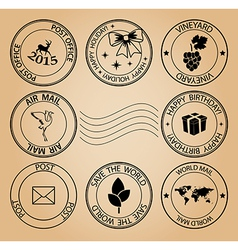Set of post stamps for holidays vector