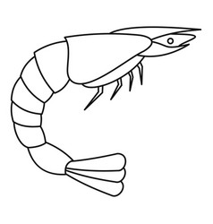 Shrimp icon outline style vector