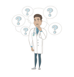 Thinking hispanic doctor with question marks vector