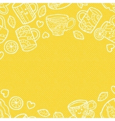 Warm textured background with doodle tea vector image