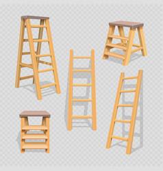 wood household steps set on transparent background vector image