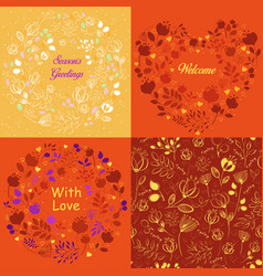 Yellow and orange floral patterns set vector
