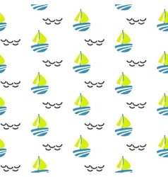 Sailboat seamless kid pattern in vector