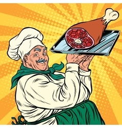Joyful retro cook with meat foot vector