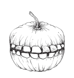 Hand drawn halloween pumpkin with a teeth vector