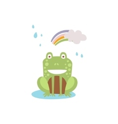Frog smilingsittin under rain and rinbow in autumn vector