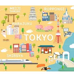 Tokyo travel map in flat vector