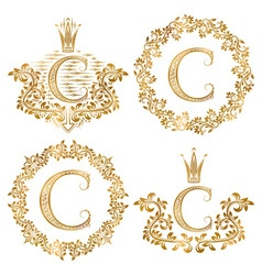 Golden letter c vintage monograms set heraldic vector