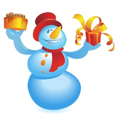 Snowman with cake and gift vector image