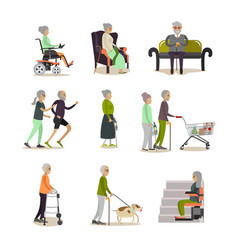 Flat icons set of aged people cartoon vector
