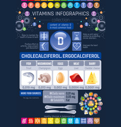 Cholecalciferol vitamin d food icons healthy vector