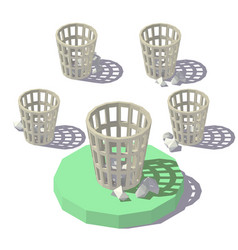 low poly isometric wastepaper basket vector image