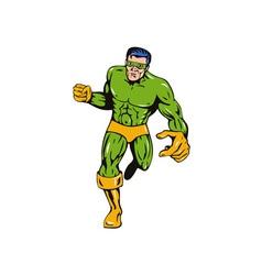 Super Hero Running Punching Retro vector image