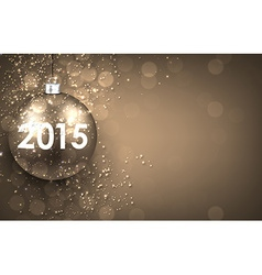 2015 New year golden background with bauble vector image