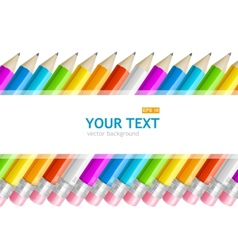 Colorful rainbow pencil text banner vector