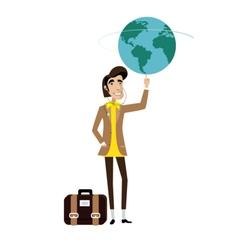 Traveller man spinning globe on finger vector