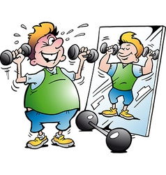 Cartoon of a fat motion man making fitness vector