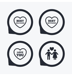 Valentine day love icons best girlfriend vector