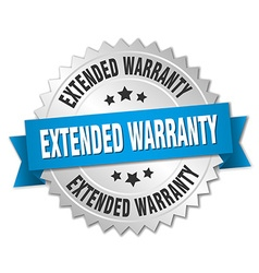 Extended warranty 3d silver badge with blue ribbon vector