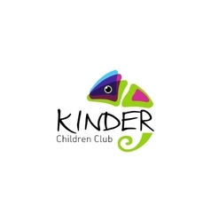 Kinder - logo children club with fun chameleon vector image