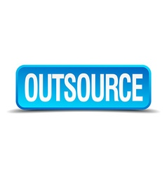 Outsource blue 3d realistic square isolated button vector
