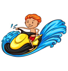 A sketch of a boy riding a water vehicle vector image