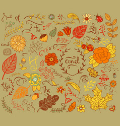 Autumn floral design elements in doodle style vector