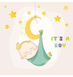 Baby boy sleeping on a moon - baby shower vector