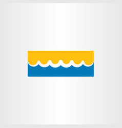 beach icon water wave and sunshine vector image vector image