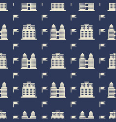 Buildngs and flags seamless pattern vector