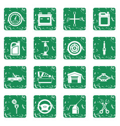 Car maintenance and repair icons set grunge vector