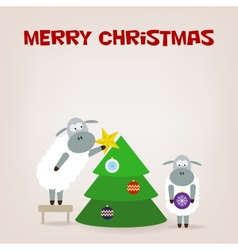 Cartoon funny sheep dresses up a fir-tree vector
