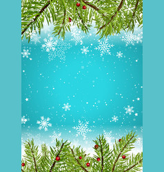 christmas background with snowflakes and pine vector image vector image