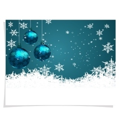 Christmas new year s card three green shiny ball vector
