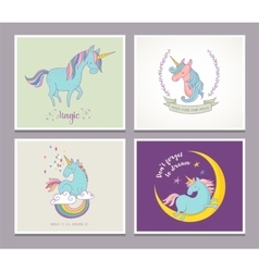 cute magic unicon and rainbow greeting cards vector image vector image